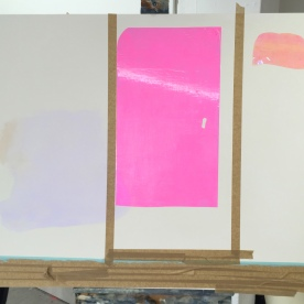 Process Painting, masking tape stage with plastic surface details