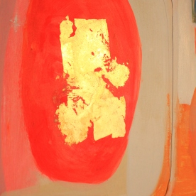 """Composition with Warm Vivid Orange"" [SOLD] 2017 Acrylic & Oil on Genuine Gesso"