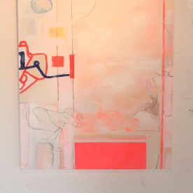 """""""Life Drawings in Fluorescent Pink Composition"""" Oil and acrylic on genuine gesso, 50x60cm (2017) £330"""