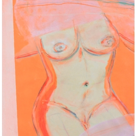 """""""Orange Nude"""" Oil and acrylic on paper (2019) SOLD"""